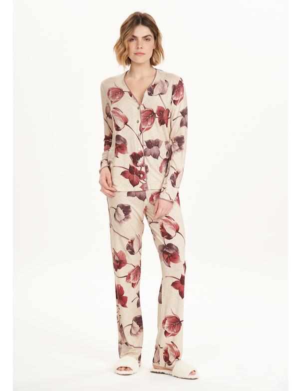 Pijama Manga Larga con Abertura 12605