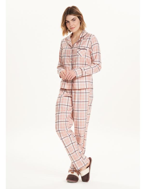 Pijama Manga Larga con Abertura 12641